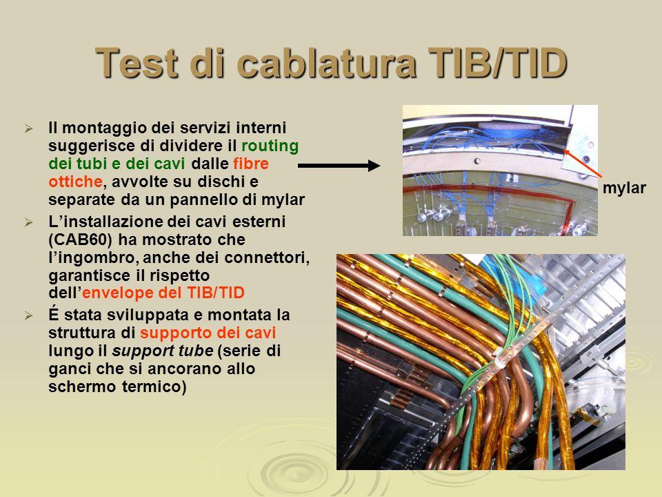 Test di cablatura TIB/TID   Il montaggio dei servizi interni suggerisce di dividere il routing dei tubi e dei cavi dalle fibre ottiche, avvolte su dischi e separate da un pannello di mylar   L'installazione dei cavi esterni (CAB60) ha mostrato che l'ingombro, anche dei connettori, garantisce il rispetto dell'envelope del TIB/TID   É stata sviluppata e montata la struttura di supporto dei cavi lungo il support tube (serie di ganci che si ancorano allo schermo termico) mylar