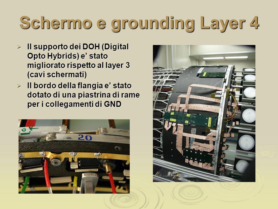 Schermo e grounding Layer 4  Il supporto dei DOH (Digital Opto Hybrids) e' stato migliorato rispetto al layer 3 (cavi schermati)  Il bordo della flangia e' stato dotato di una piastrina di rame per i collegamenti di GND