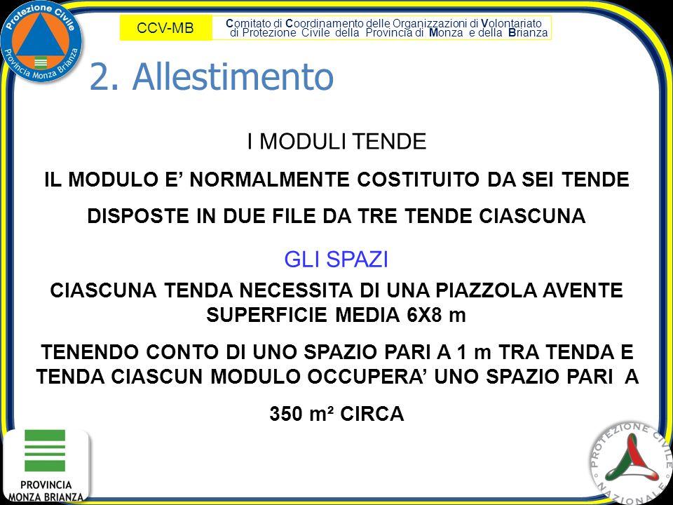 Comitato di Coordinamento delle Organizzazioni di Volontariato di Protezione Civile della Provincia di Monza e della Brianza CCV-MB I MODULI TENDE IL