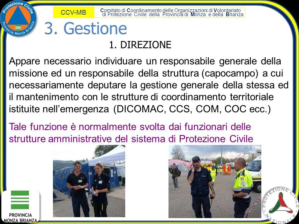 Comitato di Coordinamento delle Organizzazioni di Volontariato di Protezione Civile della Provincia di Monza e della Brianza CCV-MB 1. DIREZIONE Appar