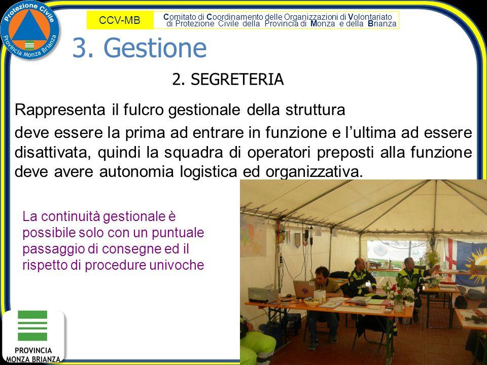 Comitato di Coordinamento delle Organizzazioni di Volontariato di Protezione Civile della Provincia di Monza e della Brianza CCV-MB 2. SEGRETERIA Rapp