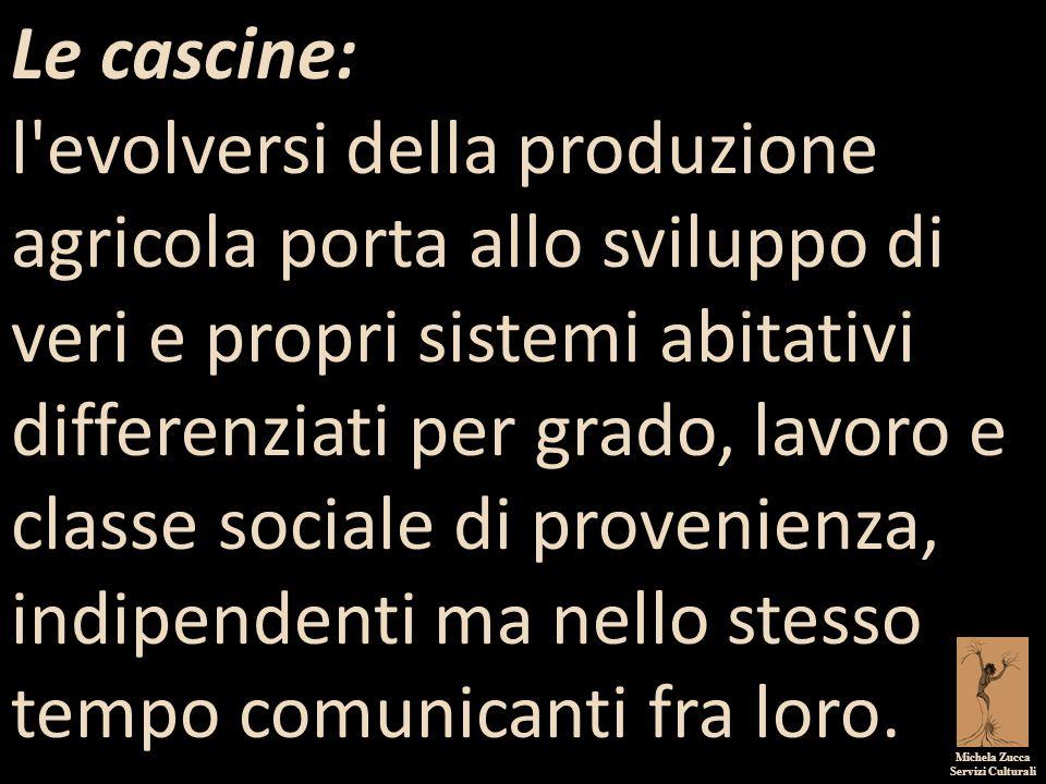 Michela Zucca Servizi Culturali Le cascine: l'evolversi della produzione agricola porta allo sviluppo di veri e propri sistemi abitativi differenziati