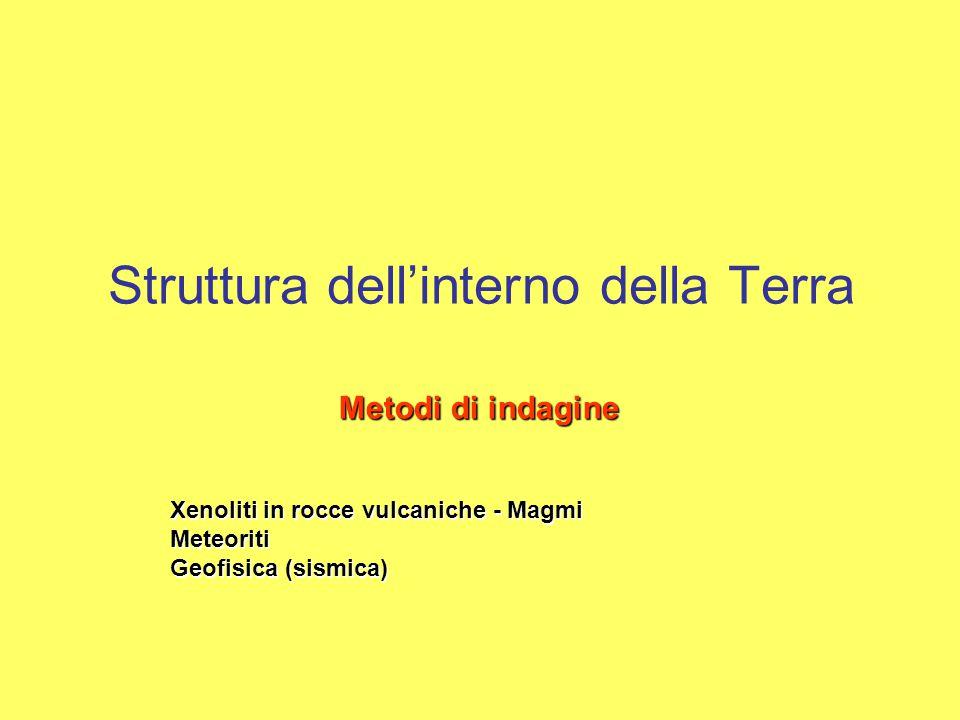 Struttura dell'interno della Terra Metodi di indagine Xenoliti in rocce vulcaniche - Magmi Meteoriti Geofisica (sismica)