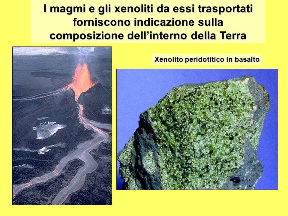 I magmi e gli xenoliti da essi trasportati forniscono indicazione sulla composizione dell'interno della Terra Xenolito peridotitico in basalto