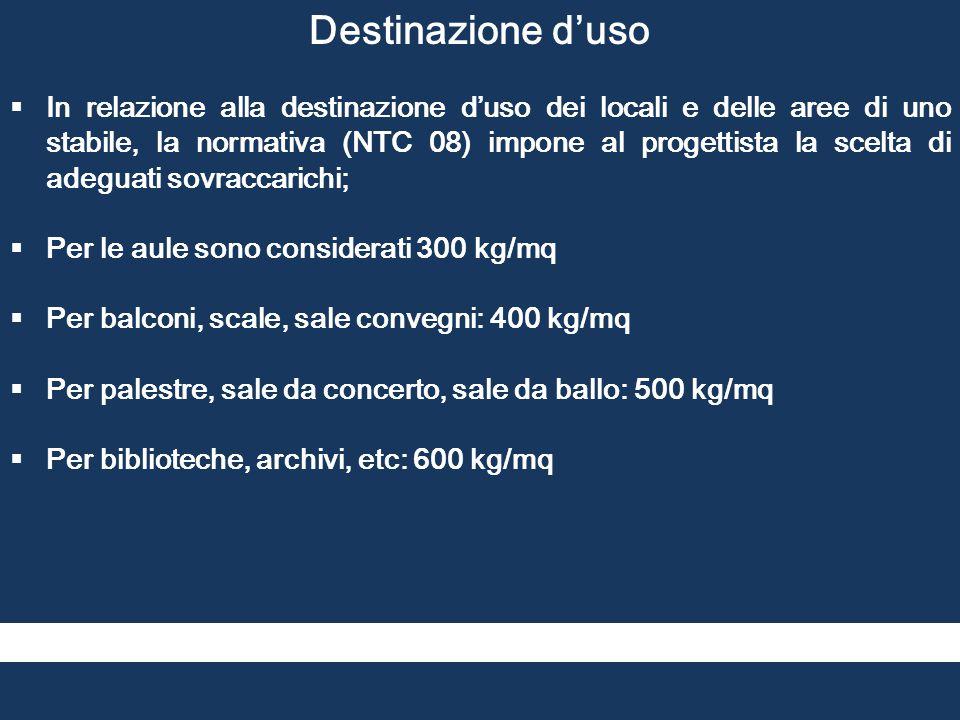 Destinazione d'uso  In relazione alla destinazione d'uso dei locali e delle aree di uno stabile, la normativa (NTC 08) impone al progettista la scelt