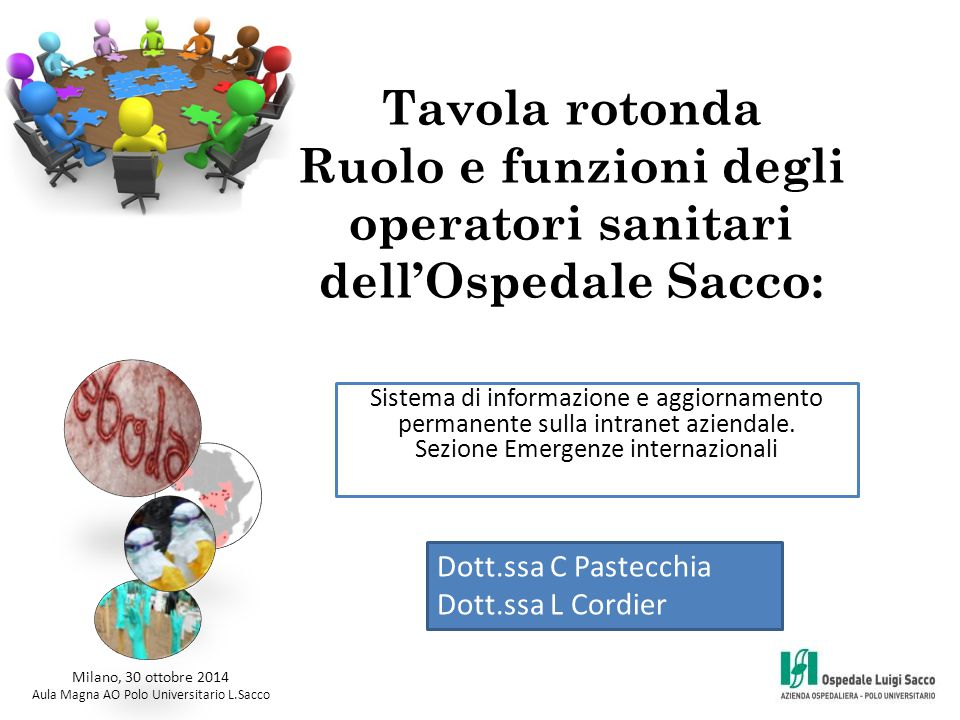 Tavola rotonda Ruolo e funzioni degli operatori sanitari dell'Ospedale Sacco: Milano, 30 ottobre 2014 Aula Magna AO Polo Universitario L.Sacco Sistema di informazione e aggiornamento permanente sulla intranet aziendale.