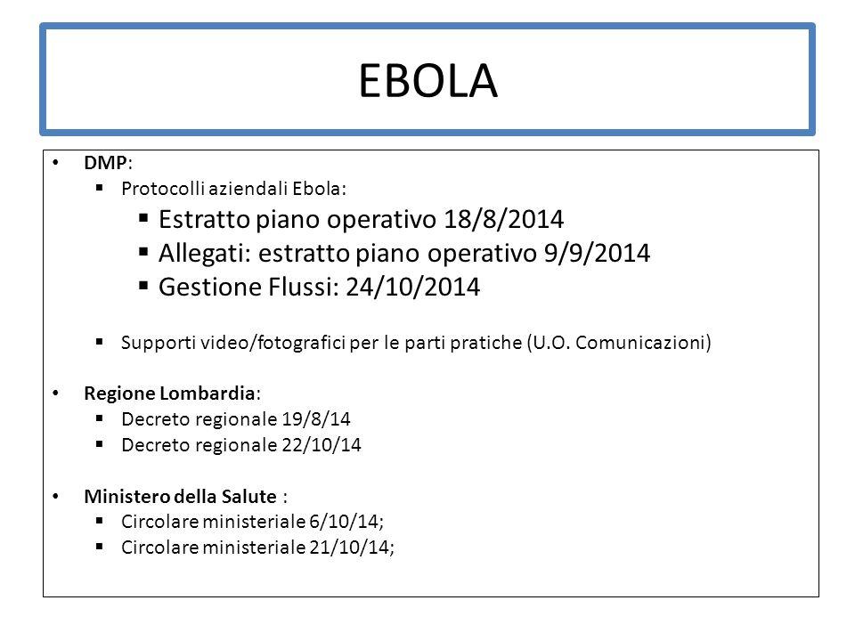 EBOLA DMP:  Protocolli aziendali Ebola:  Estratto piano operativo 18/8/2014  Allegati: estratto piano operativo 9/9/2014  Gestione Flussi: 24/10/2014  Supporti video/fotografici per le parti pratiche (U.O.