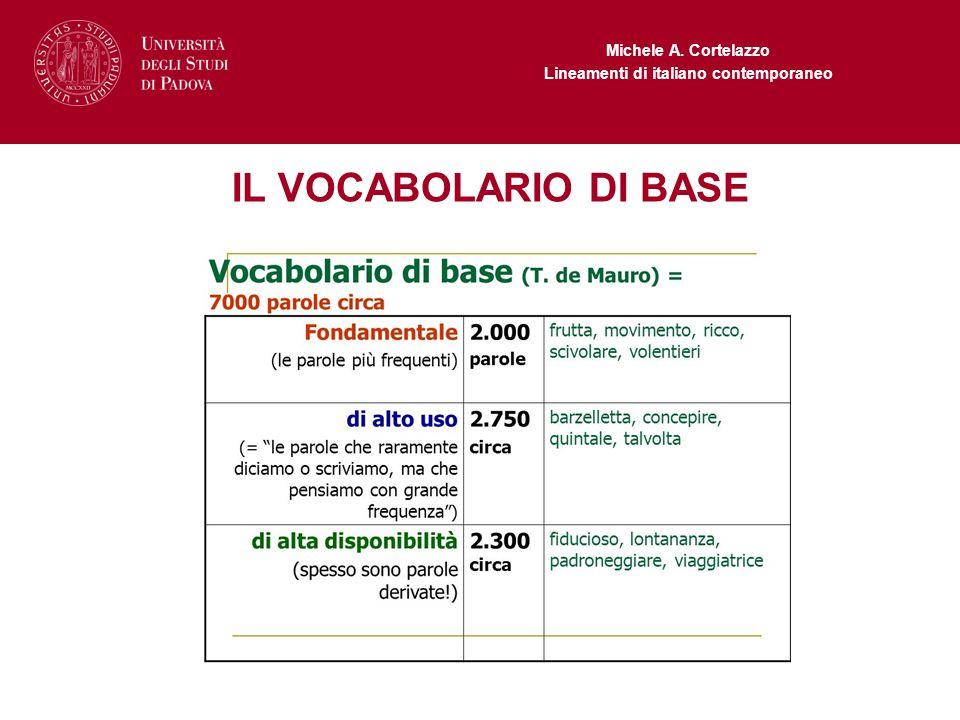 Michele A. Cortelazzo Lineamenti di italiano contemporaneo IL VOCABOLARIO DI BASE