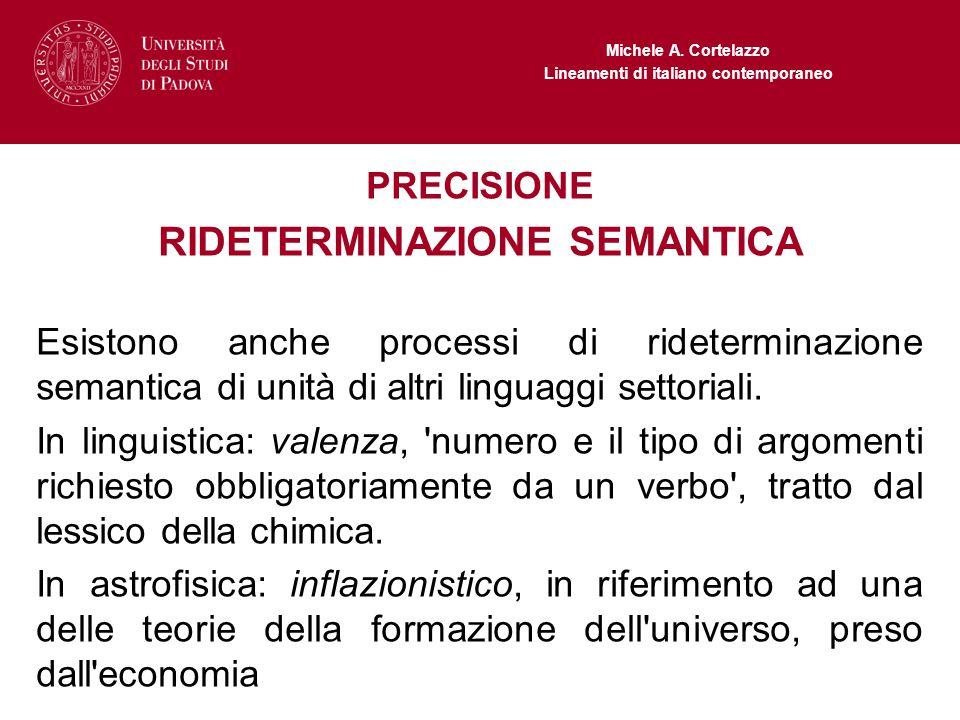 Michele A. Cortelazzo Lineamenti di italiano contemporaneo PRECISIONE RIDETERMINAZIONE SEMANTICA Esistono anche processi di rideterminazione semantica