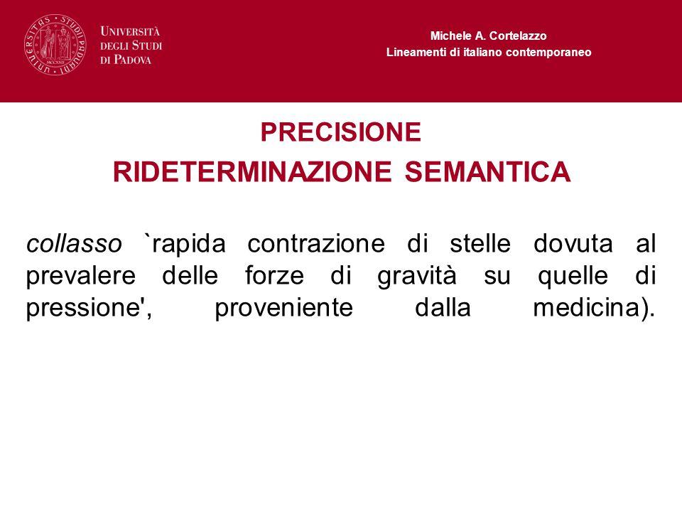 Michele A. Cortelazzo Lineamenti di italiano contemporaneo PRECISIONE RIDETERMINAZIONE SEMANTICA collasso `rapida contrazione di stelle dovuta al prev