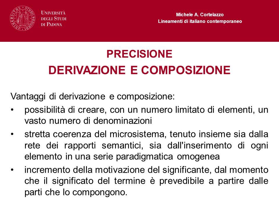 Michele A. Cortelazzo Lineamenti di italiano contemporaneo PRECISIONE DERIVAZIONE E COMPOSIZIONE Vantaggi di derivazione e composizione: possibilità d