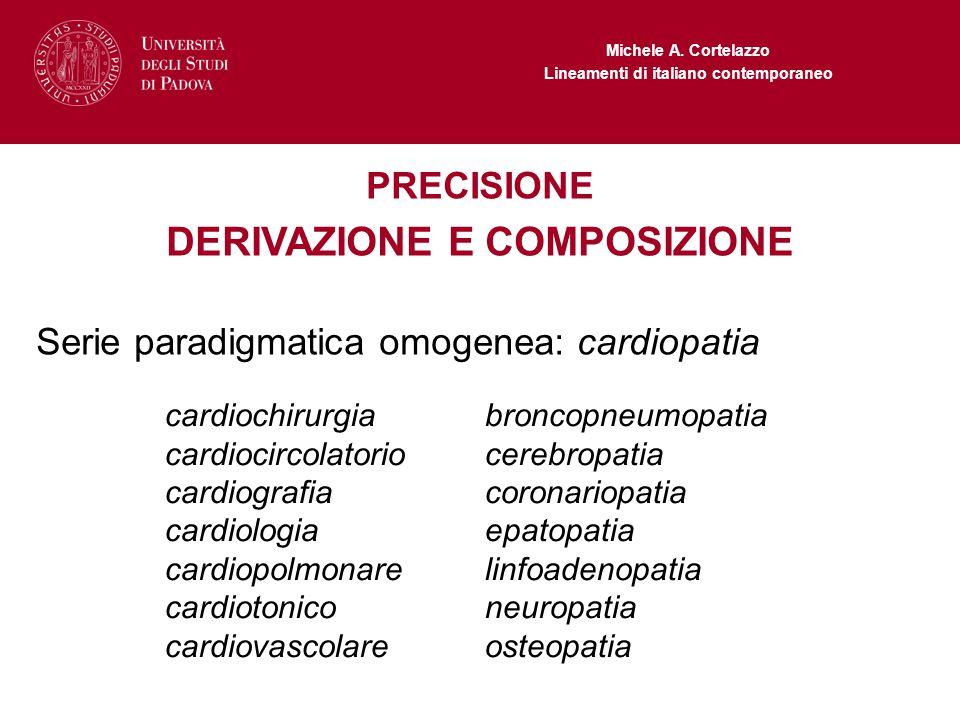 Michele A. Cortelazzo Lineamenti di italiano contemporaneo PRECISIONE DERIVAZIONE E COMPOSIZIONE Serie paradigmatica omogenea: cardiopatia cardiochiru