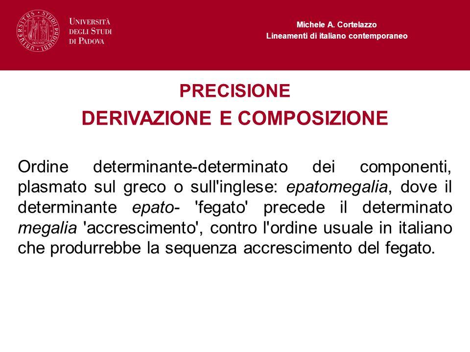 Michele A. Cortelazzo Lineamenti di italiano contemporaneo PRECISIONE DERIVAZIONE E COMPOSIZIONE Ordine determinante-determinato dei componenti, plasm