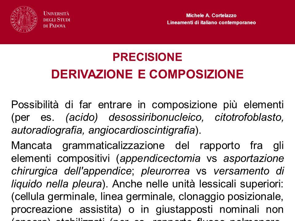Michele A. Cortelazzo Lineamenti di italiano contemporaneo PRECISIONE DERIVAZIONE E COMPOSIZIONE Possibilità di far entrare in composizione più elemen
