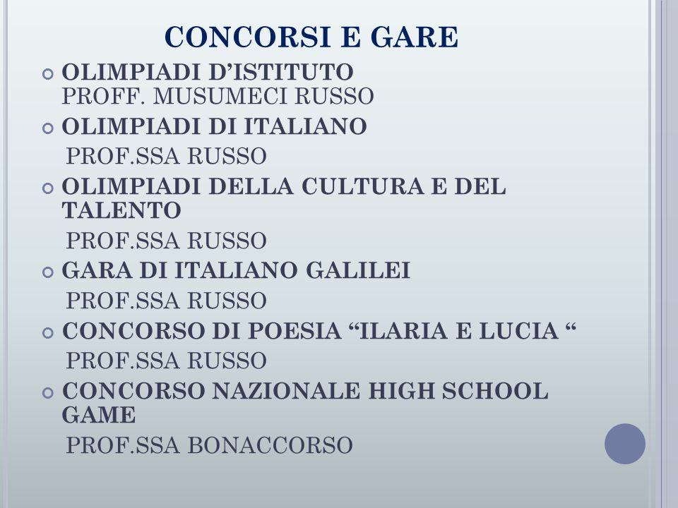 CONCORSI E GARE OLIMPIADI D'ISTITUTO PROFF.