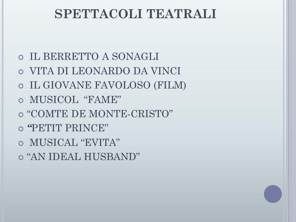 """SPETTACOLI TEATRALI IL BERRETTO A SONAGLI VITA DI LEONARDO DA VINCI IL GIOVANE FAVOLOSO (FILM) MUSICOL """"FAME"""" """"COMTE DE MONTE-CRISTO"""" """" PETIT PRINCE"""""""