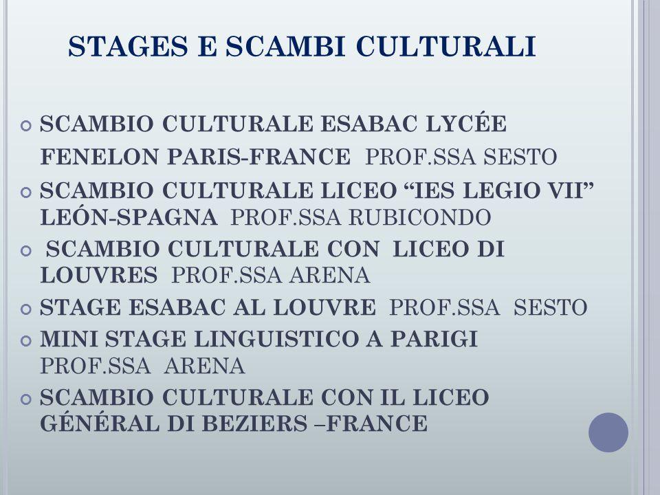 STAGES E SCAMBI CULTURALI SCAMBIO CULTURALE ESABAC LYCÉE FENELON PARIS-FRANCE PROF.SSA SESTO SCAMBIO CULTURALE LICEO IES LEGIO VII LEÓN-SPAGNA PROF.SSA RUBICONDO SCAMBIO CULTURALE CON LICEO DI LOUVRES PROF.SSA ARENA STAGE ESABAC AL LOUVRE PROF.SSA SESTO MINI STAGE LINGUISTICO A PARIGI PROF.SSA ARENA SCAMBIO CULTURALE CON IL LICEO GÉNÉRAL DI BEZIERS –FRANCE