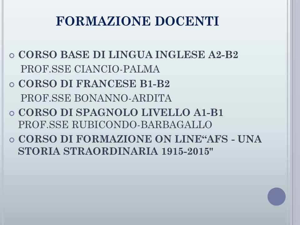 FORMAZIONE DOCENTI CORSO BASE DI LINGUA INGLESE A2-B2 PROF.SSE CIANCIO-PALMA CORSO DI FRANCESE B1-B2 PROF.SSE BONANNO-ARDITA CORSO DI SPAGNOLO LIVELLO A1-B1 PROF.SSE RUBICONDO-BARBAGALLO CORSO DI FORMAZIONE ON LINE AFS - UNA STORIA STRAORDINARIA 1915-2015