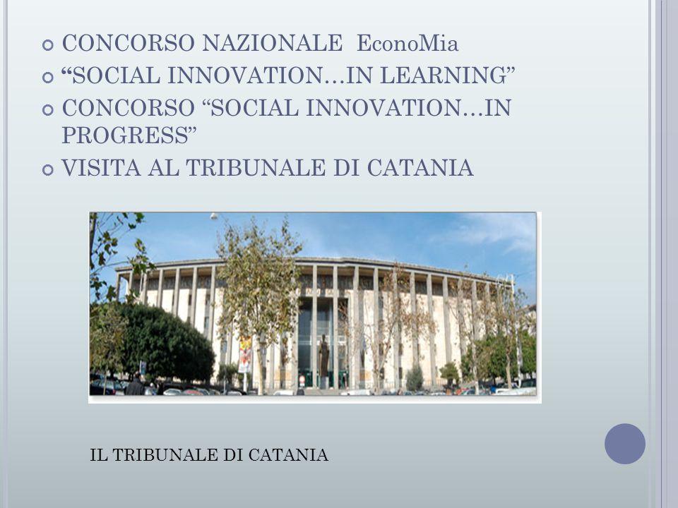 CONCORSO NAZIONALE EconoMia SOCIAL INNOVATION…IN LEARNING CONCORSO SOCIAL INNOVATION…IN PROGRESS VISITA AL TRIBUNALE DI CATANIA IL TRIBUNALE DI CATANIA
