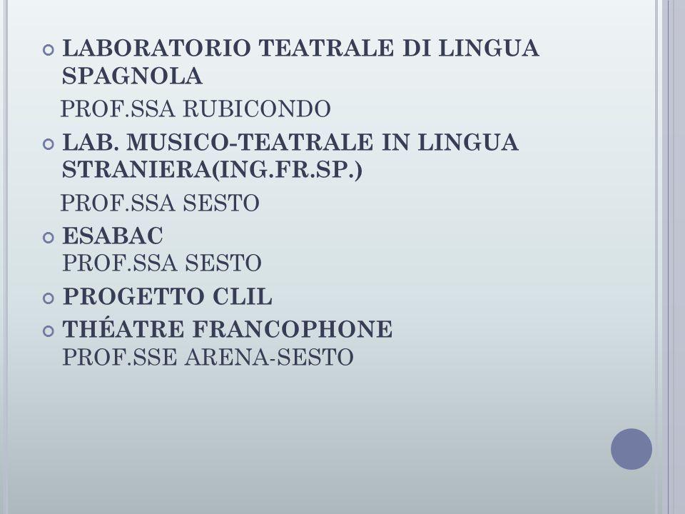 LABORATORIO TEATRALE DI LINGUA SPAGNOLA PROF.SSA RUBICONDO LAB. MUSICO-TEATRALE IN LINGUA STRANIERA(ING.FR.SP.) PROF.SSA SESTO ESABAC PROF.SSA SESTO P