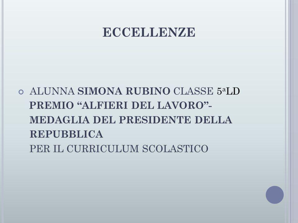 ECCELLENZE ALUNNA SIMONA RUBINO CLASSE 5 a LD PREMIO ALFIERI DEL LAVORO - MEDAGLIA DEL PRESIDENTE DELLA REPUBBLICA PER IL CURRICULUM SCOLASTICO