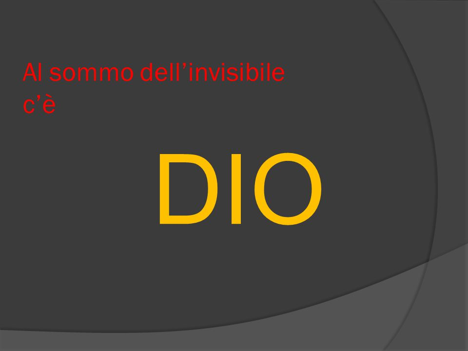 Al sommo dell'invisibile c'è DIO
