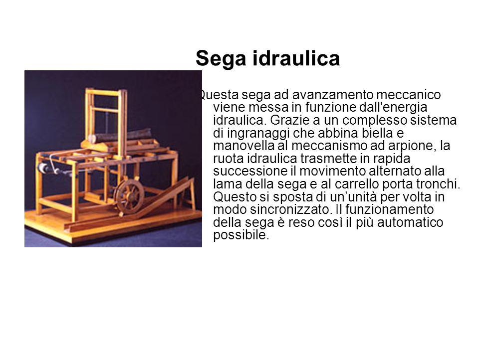 Sega idraulica Questa sega ad avanzamento meccanico viene messa in funzione dall energia idraulica.