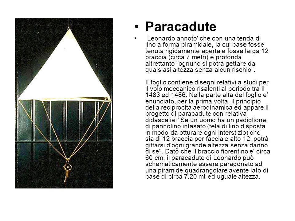 Paracadute Leonardo annoto che con una tenda di lino a forma piramidale, la cui base fosse tenuta rigidamente aperta e fosse larga 12 braccia (circa 7 metri) e profonda altrettanto ognuno si potrà gettare da qualsiasi altezza senza alcun rischio .
