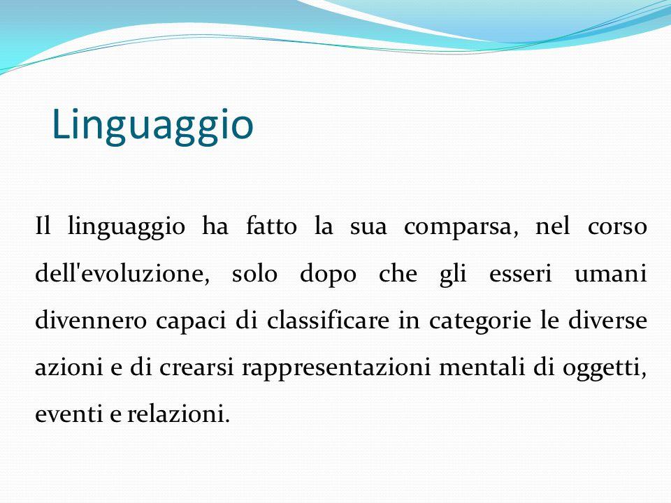Linguaggio Il linguaggio ha fatto la sua comparsa, nel corso dell'evoluzione, solo dopo che gli esseri umani divennero capaci di classificare in categ