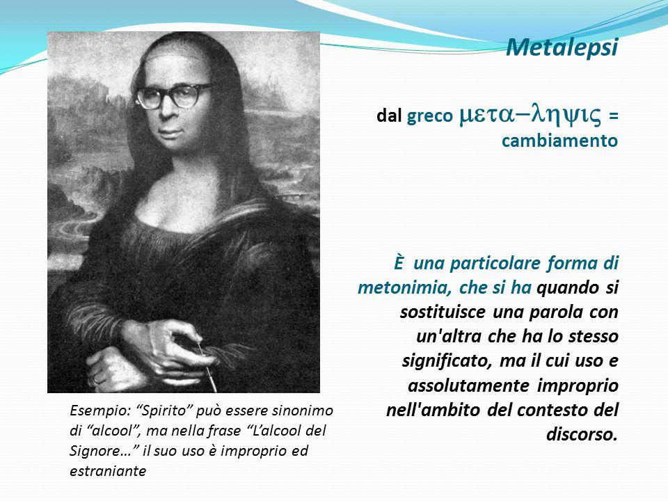 Metalepsi dal greco  = cambiamento È una particolare forma di metonimia, che si ha quando si sostituisce una parola con un'altra che ha lo st