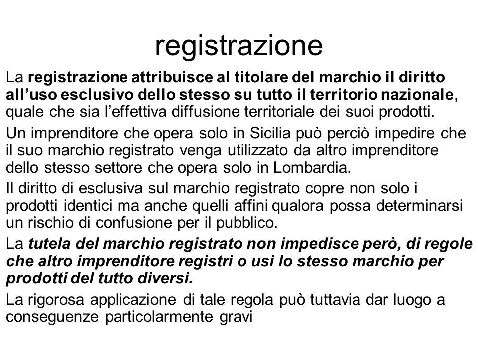 registrazione La registrazione attribuisce al titolare del marchio il diritto all'uso esclusivo dello stesso su tutto il territorio nazionale, quale c