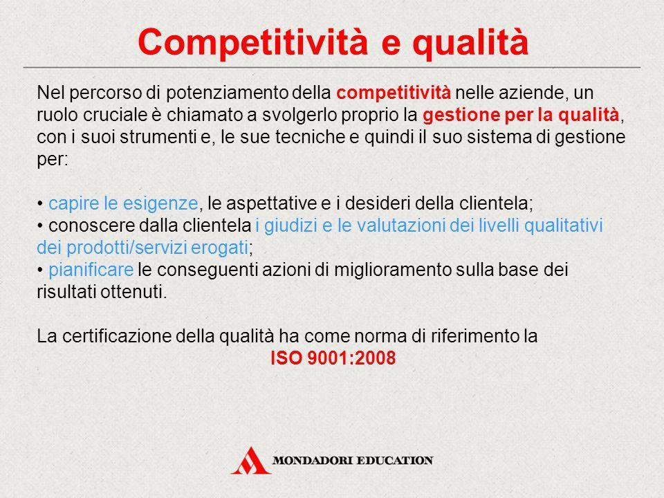 Competitività e qualità Nel percorso di potenziamento della competitività nelle aziende, un ruolo cruciale è chiamato a svolgerlo proprio la gestione