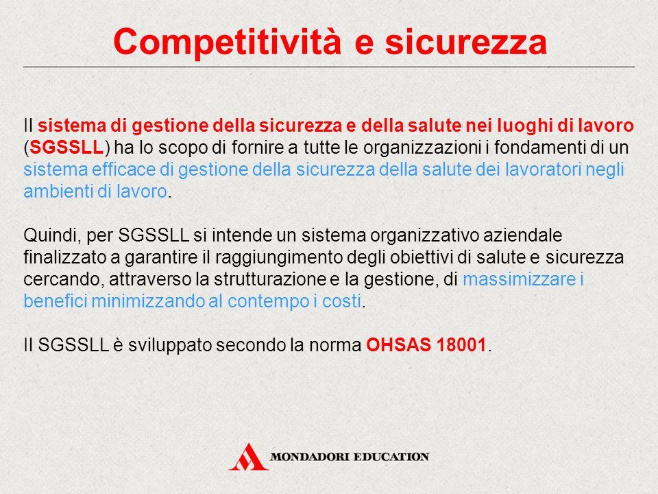 Competitività e sicurezza Il sistema di gestione della sicurezza e della salute nei luoghi di lavoro (SGSSLL) ha lo scopo di fornire a tutte le organi