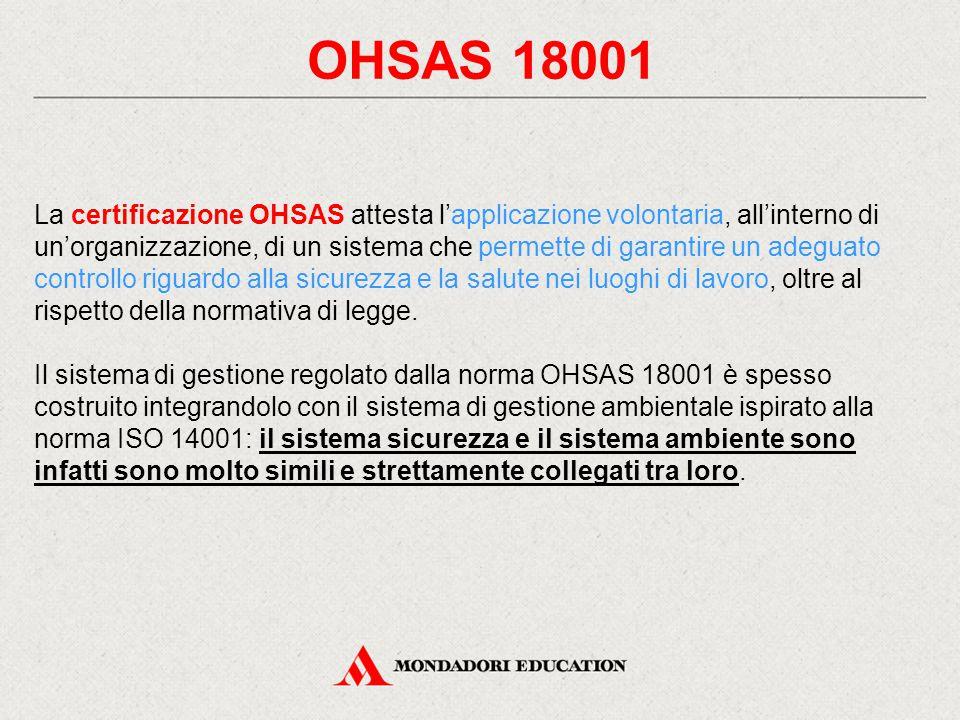 OHSAS 18001 La certificazione OHSAS attesta l'applicazione volontaria, all'interno di un'organizzazione, di un sistema che permette di garantire un adeguato controllo riguardo alla sicurezza e la salute nei luoghi di lavoro, oltre al rispetto della normativa di legge.