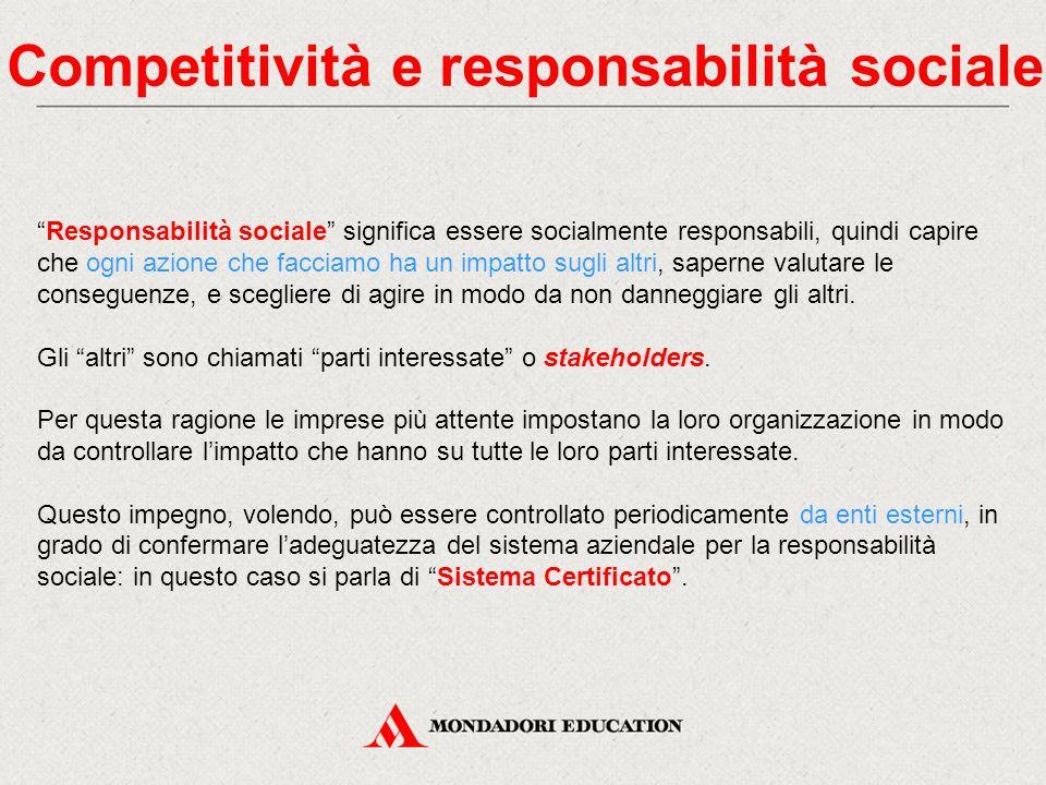 """Competitività e responsabilità sociale """"Responsabilità sociale"""" significa essere socialmente responsabili, quindi capire che ogni azione che facciamo"""