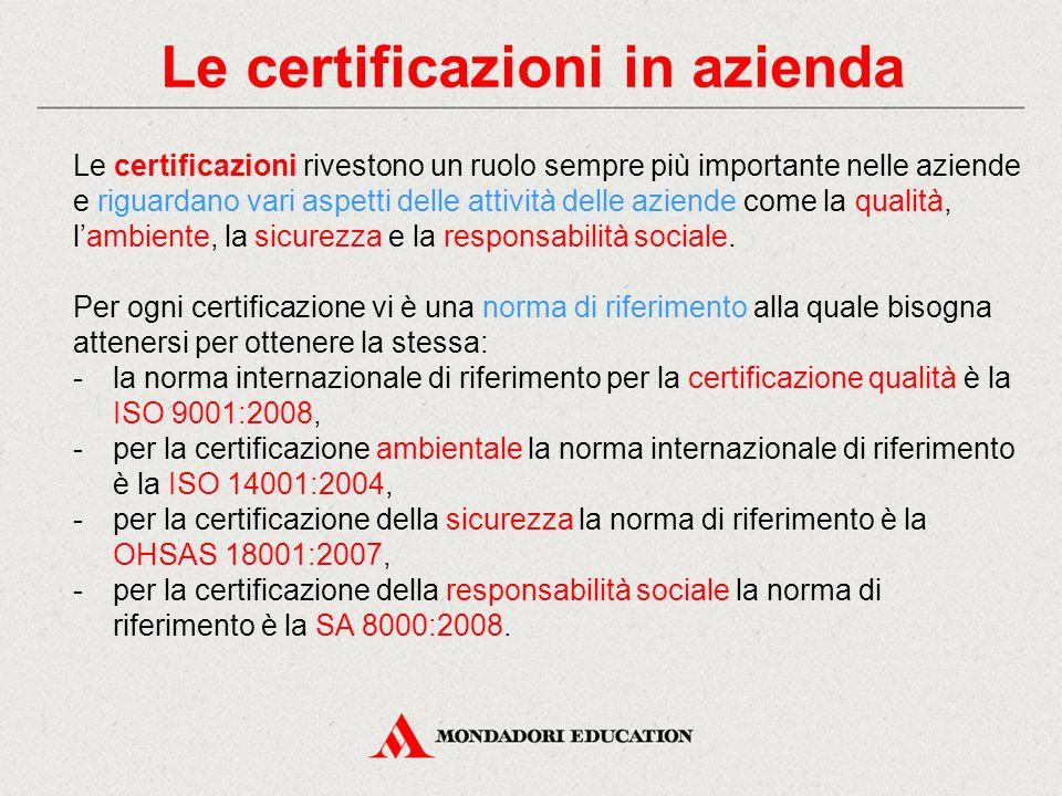 Le certificazioni in azienda Le certificazioni rivestono un ruolo sempre più importante nelle aziende e riguardano vari aspetti delle attività delle aziende come la qualità, l'ambiente, la sicurezza e la responsabilità sociale.