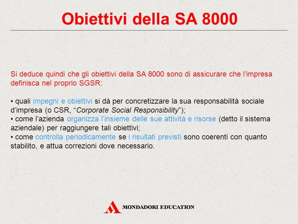 Obiettivi della SA 8000 Si deduce quindi che gli obiettivi della SA 8000 sono di assicurare che l'impresa definisca nel proprio SGSR: quali impegni e