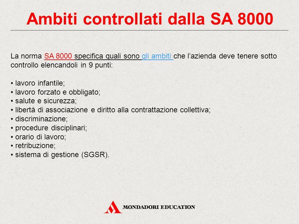 Ambiti controllati dalla SA 8000 La norma SA 8000 specifica quali sono gli ambiti che l'azienda deve tenere sotto controllo elencandoli in 9 punti: la