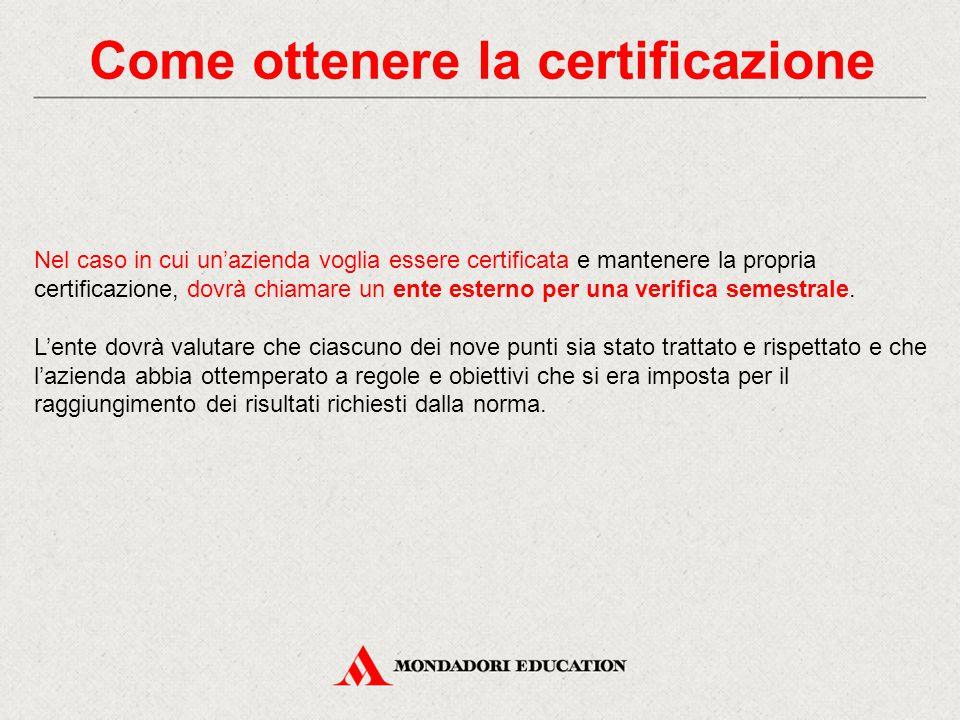 Come ottenere la certificazione Nel caso in cui un'azienda voglia essere certificata e mantenere la propria certificazione, dovrà chiamare un ente esterno per una verifica semestrale.