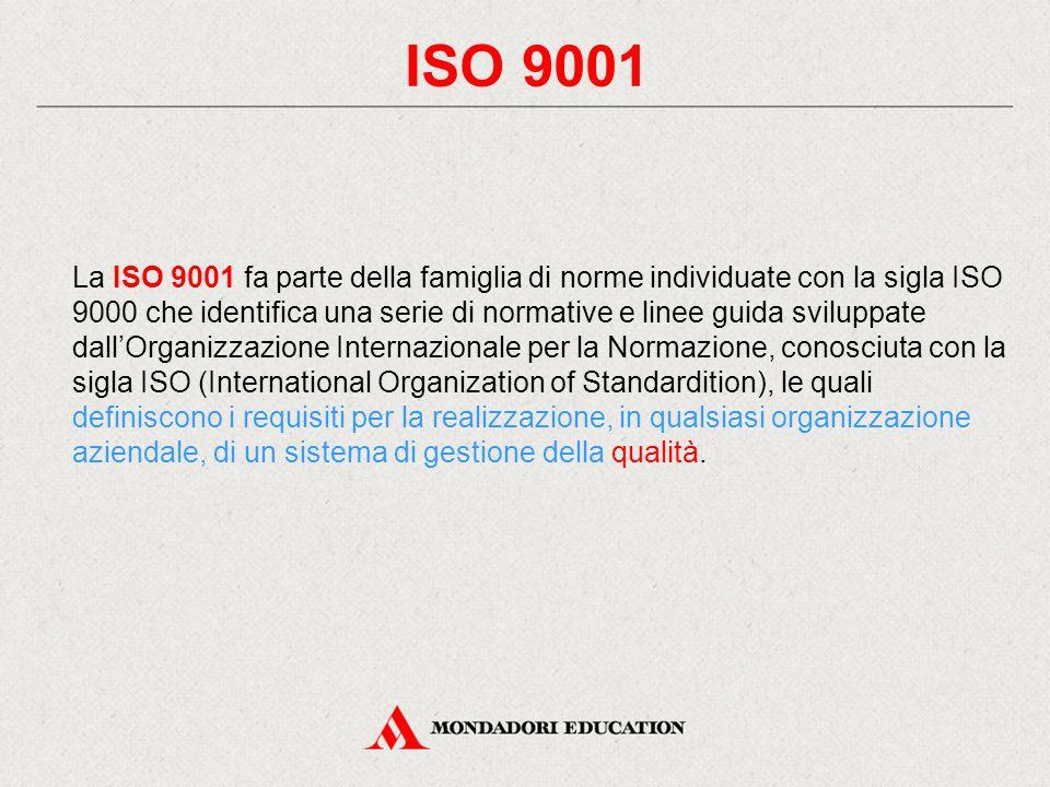 ISO 9001 La ISO 9001 fa parte della famiglia di norme individuate con la sigla ISO 9000 che identifica una serie di normative e linee guida sviluppate dall'Organizzazione Internazionale per la Normazione, conosciuta con la sigla ISO (International Organization of Standardition), le quali definiscono i requisiti per la realizzazione, in qualsiasi organizzazione aziendale, di un sistema di gestione della qualità.