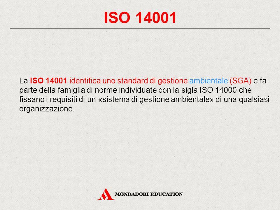 ISO 14001 La ISO 14001 identifica uno standard di gestione ambientale (SGA) e fa parte della famiglia di norme individuate con la sigla ISO 14000 che fissano i requisiti di un «sistema di gestione ambientale» di una qualsiasi organizzazione.