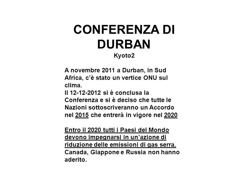 CONFERENZA DI DURBAN Kyoto2 A novembre 2011 a Durban, in Sud Africa, c'è stato un vertice ONU sul clima. Il 12-12-2012 si è conclusa la Conferenza e s