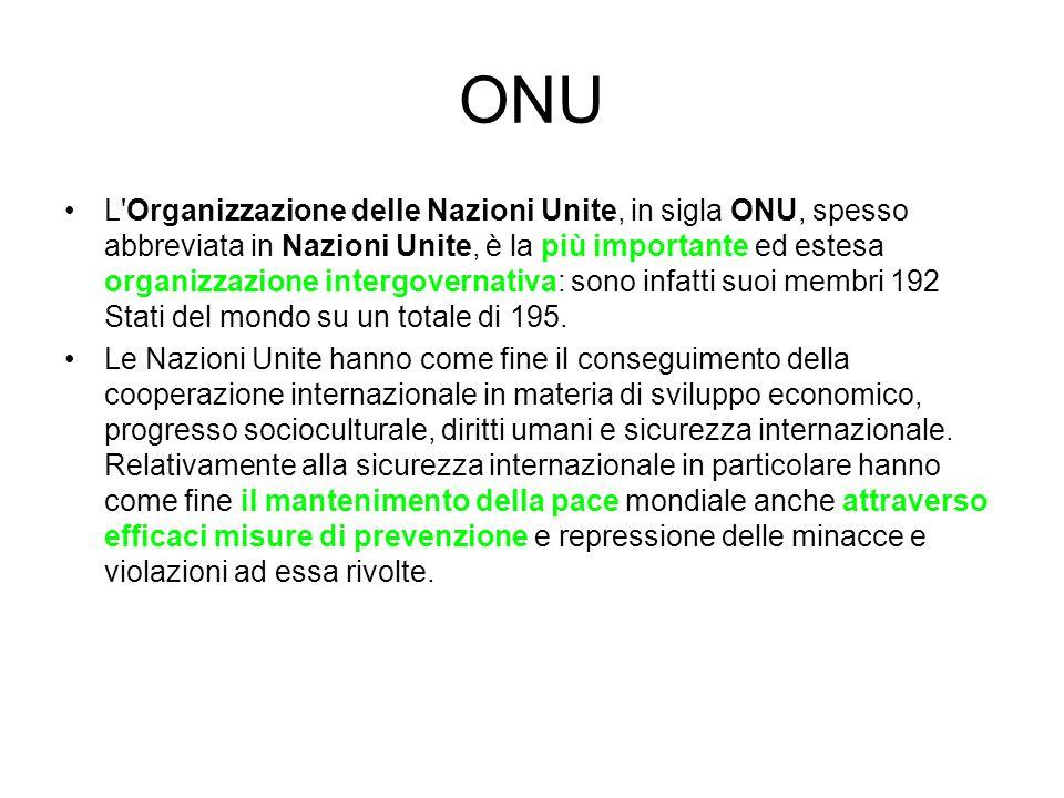 ONU L'Organizzazione delle Nazioni Unite, in sigla ONU, spesso abbreviata in Nazioni Unite, è la più importante ed estesa organizzazione intergovernat