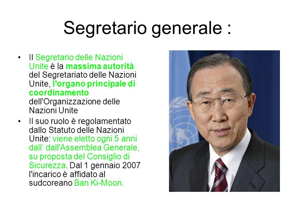 Segretario generale : Il Segretario delle Nazioni Unite è la massima autorità del Segretariato delle Nazioni Unite, l organo principale di coordinamento dell Organizzazione delle Nazioni Unite Il suo ruolo è regolamentato dallo Statuto delle Nazioni Unite: viene eletto ogni 5 anni dall' dall Assemblea Generale, su proposta del Consiglio di Sicurezza.