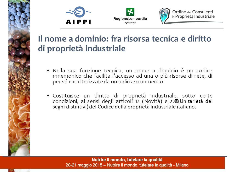 Nutrire il mondo, tutelare la qualità 20-21 maggio 2015 – Nutrire il mondo, tutelare la qualità - Milano Nella sua funzione tecnica, un nome a dominio
