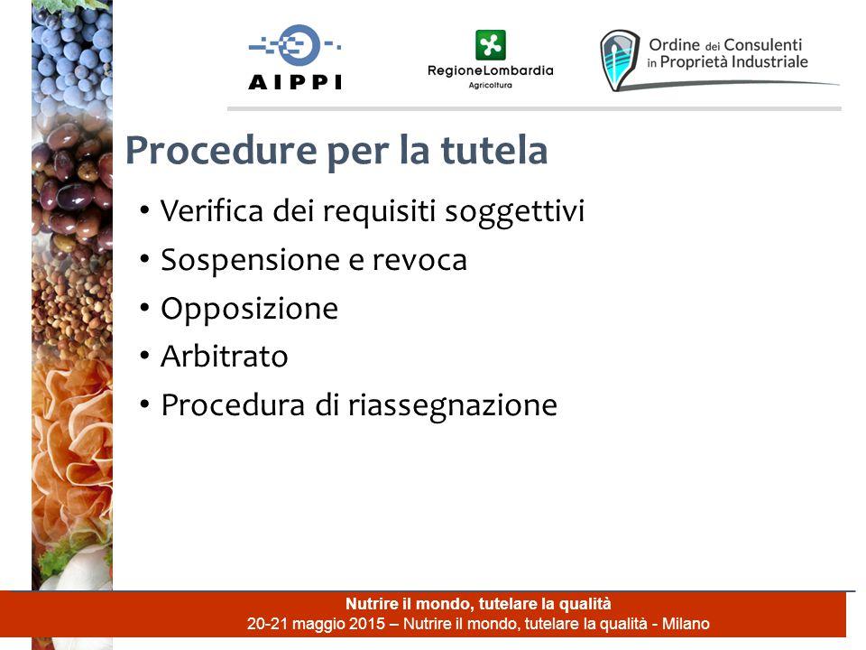 Nutrire il mondo, tutelare la qualità 20-21 maggio 2015 – Nutrire il mondo, tutelare la qualità - Milano Verifica dei requisiti soggettivi Sospensione e revoca Opposizione Arbitrato Procedura di riassegnazione Procedure per la tutela
