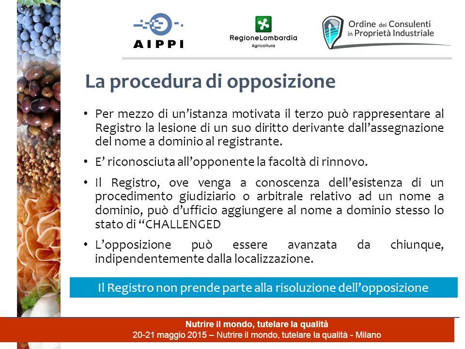 Nutrire il mondo, tutelare la qualità 20-21 maggio 2015 – Nutrire il mondo, tutelare la qualità - Milano Per mezzo di un'istanza motivata il terzo può