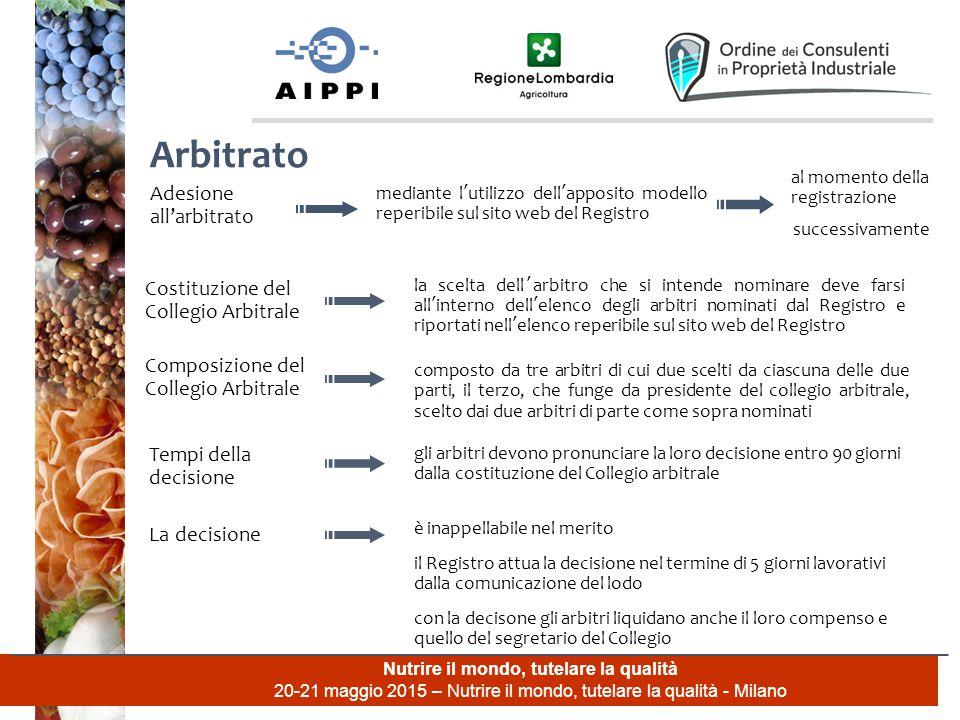 Nutrire il mondo, tutelare la qualità 20-21 maggio 2015 – Nutrire il mondo, tutelare la qualità - Milano Arbitrato Adesione all'arbitrato mediante l'u