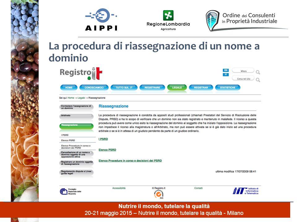 Nutrire il mondo, tutelare la qualità 20-21 maggio 2015 – Nutrire il mondo, tutelare la qualità - Milano La procedura di riassegnazione di un nome a dominio