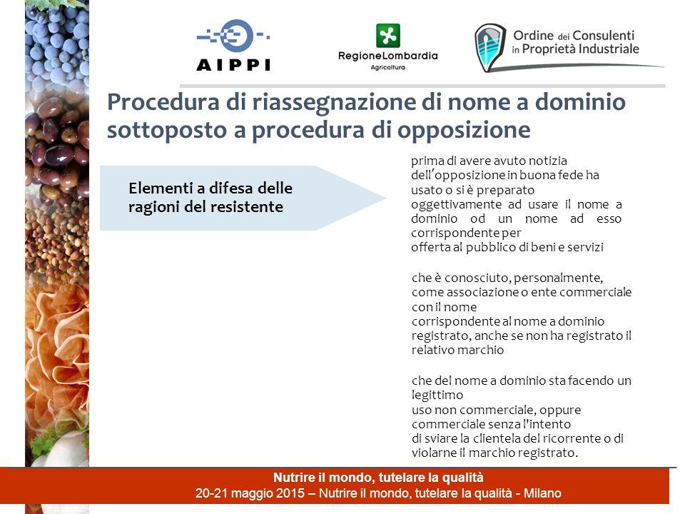 Nutrire il mondo, tutelare la qualità 20-21 maggio 2015 – Nutrire il mondo, tutelare la qualità - Milano Procedura di riassegnazione di nome a dominio